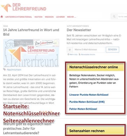 Lehrerfreund 2014: Notenschlüsselrechner und Seitenzahlenrechner auf der Startseite
