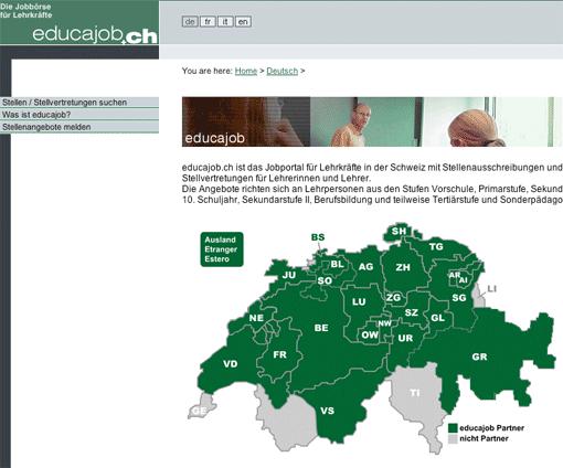 Screenshot: Lehrer-Stellensuche in der Schweiz bei educajob.ch