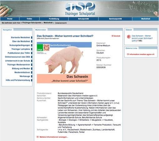 Vorschaubild: Übersichtsseite 'Das Schwein' auf Schulportal Thüringen