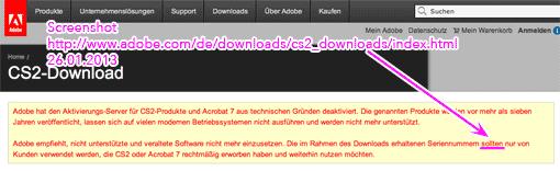 Screenshot: Adobe gibt CS2 zum kostenlosen Download frei