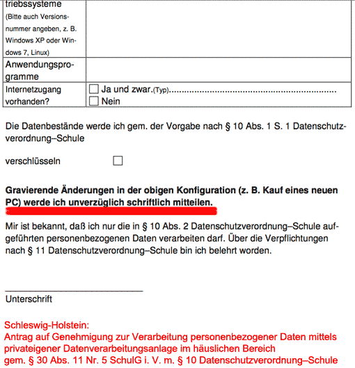 Auszug: Antrag Genehmigung zur Verarbeitung personenbezogener Daten - Schleswig-Holstein