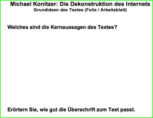 Vorschaubild: Folie/Arbeitsblatt Kernaussagen des Textes 'Dekonstruktion des Internets'