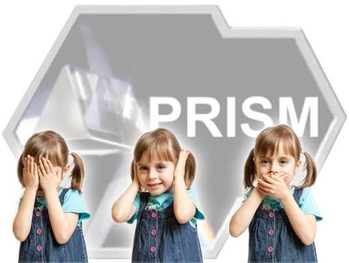 3-Affen-Pose vor PRISM