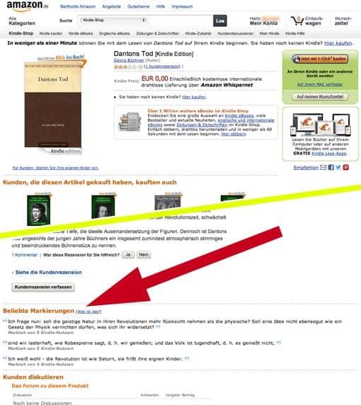 Screenshot einer Amazon-Produktseite mit 'Beliebten Markierungen' im Kindle-Shop