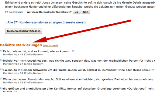 Beliebte Markierungen bei amazon.de (Screenshot)