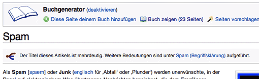Wikipedia: Buchgenerator