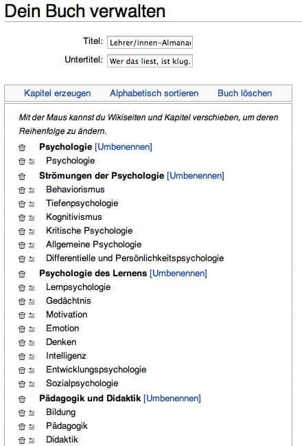 Wikipedia Buchgenerator: Buch verwalten