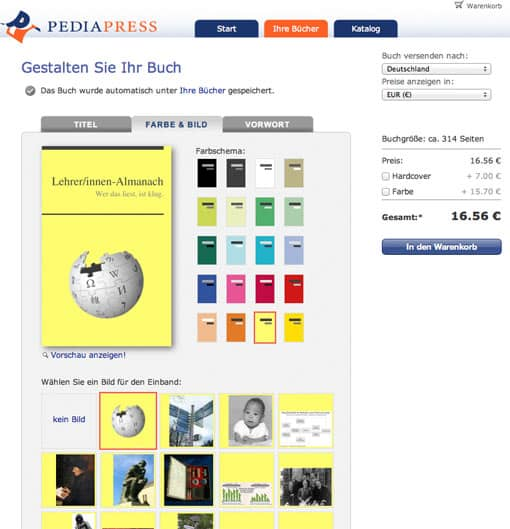 Wikipedia-E-Book bei PediaPress drucken lassen