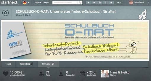 Schulbuch-O-Mat bei startnext (Screenshot)