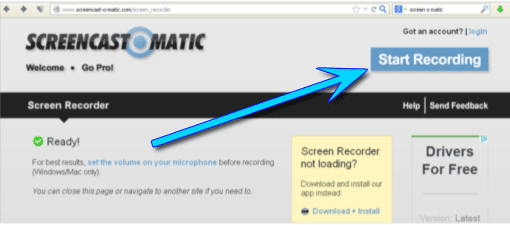 Screencast-O-Matic - Rekorder starten