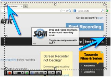 Screencast-Bereich für die Aufnahme bestimmen
