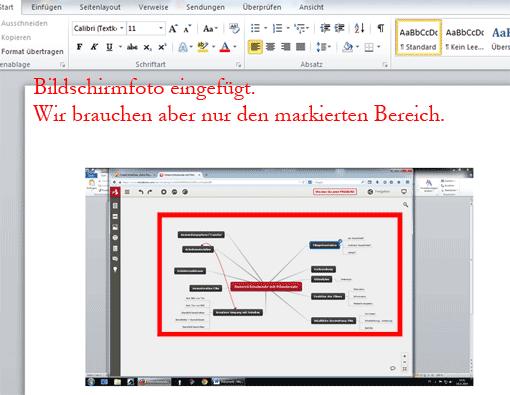 Zustand: Komplettes Bildschirmfoto ist in Word eingefügt