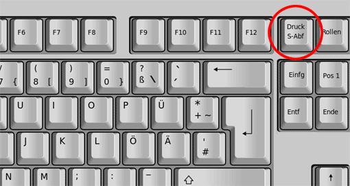 Taste 'Druck' auf einer Windows-Tastatur
