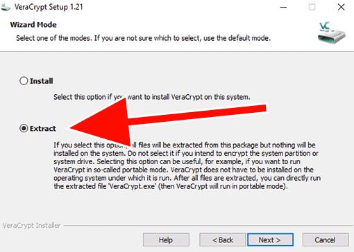 Screenshot: VeraCrypt-Installation - Extract wählen