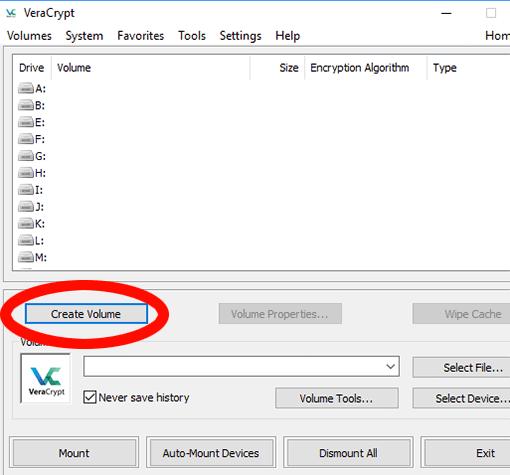 VeraCrypt: Neues Volume erstellen