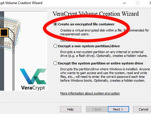 Einen VeraCrypt-Container erstellen