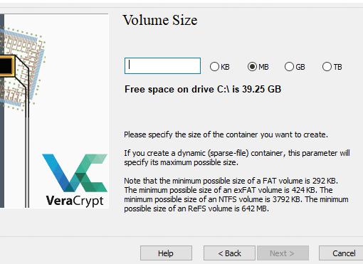 Größe des VeraCrypt-Containers angeben