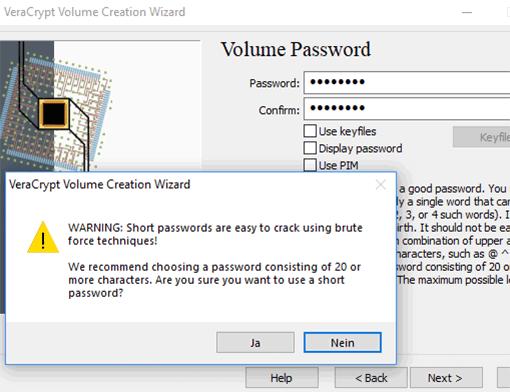 Passwort für VeraCrypt-Container vergeben