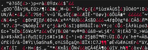 Beispiel: Mit VeraCrypt verschlüsselte Datei (Buchstabensalat)
