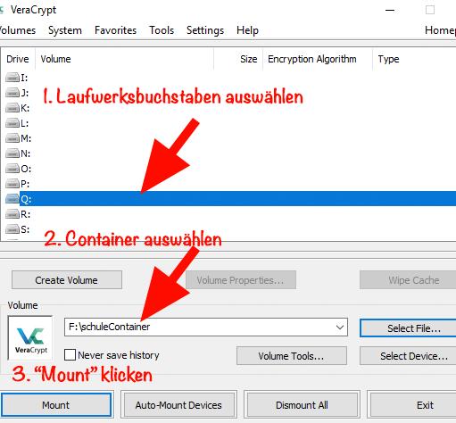 VeraCrypt: Anleitung zum mounten eines Volumes