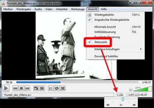 Screenshot: Geschwindigkeit im VLC-Player anpassen