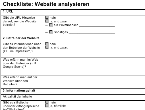 Ausschnitt der Checkliste 'Websites analysieren'