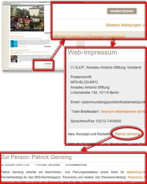 Impressum von npd-info.de - Beispiel, wie man mehr über einen Site-Betreiber herausfinden kann