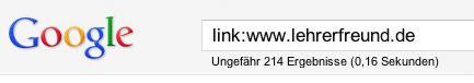 Anzahl der eingehenden Links auf eine Website mit Google bestimmen