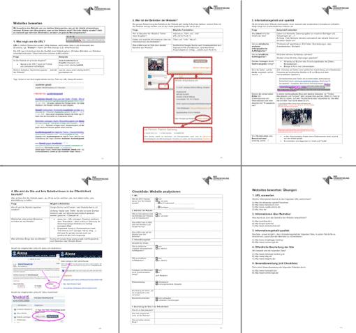 Vorschau: Alle Arbeitsblätter der U-Einheit 'Websites bewerten'