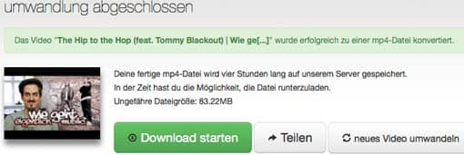 Screenshot: Umgewandeltes Video von convert2mp3.net downloaden