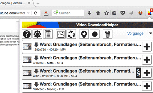 Firefox Video-Downloadhelper: Auswahlmenü