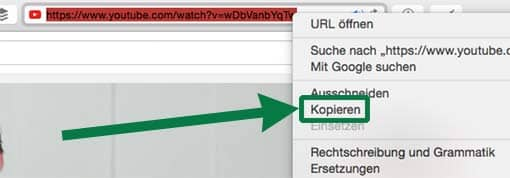 Screenshot: URL (Webadresse) eines YouTube-Videos kopieren
