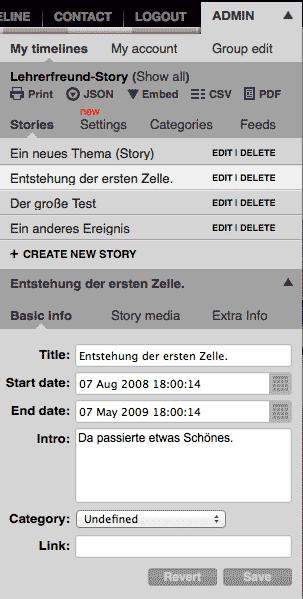 Einstellungen beim Timeline-Tool Tiki-Toki
