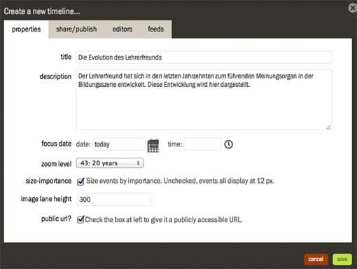 TimeGlider - Einstellungen für einen neu erstellten Zeitstrahl