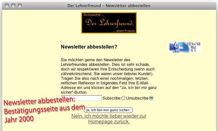 Abmeldeseite des Lehrerfreund-Newsletters im Jahr 2000