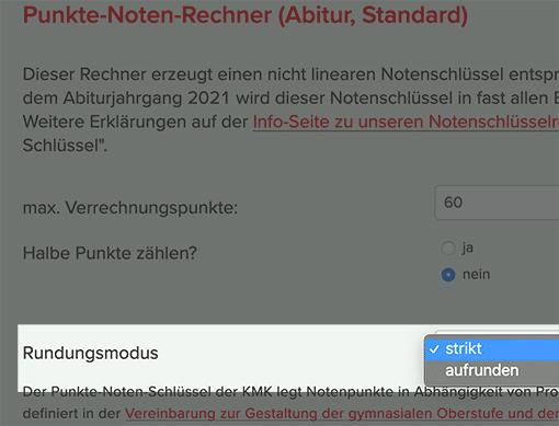 Rundungsmodus im Lehrerfreund-Notenschlüsselrechner (KMK/Abitur)