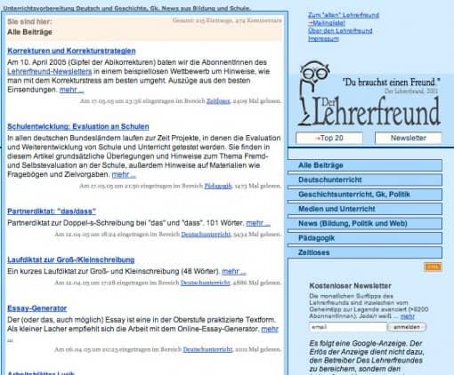 Lehrerfreund-Website, Stand 2004