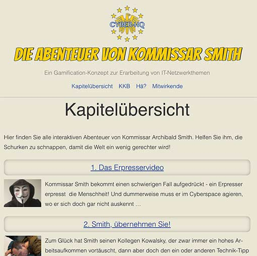 Screenshot: Übersichtsseite des Netzwerk-Adventures »Abenteuer von Kommissar Smith«