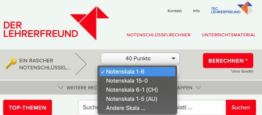 Notenschlüsselrechner-Schnellzugriff mit Voreinstellungen für Österreich und Schweiz