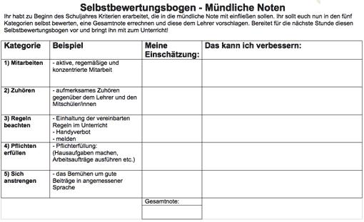 Selbstbewertungsbogen: Mündliche Noten (Vorschaubild)