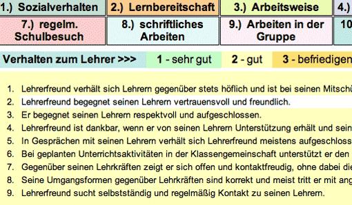 Screenshot: Schülerbeurteilung - Formulierungen auswählen