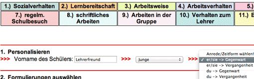 Screenshot: Personalisierung des Wortgutachtens bei der Schülerbeurteilung online