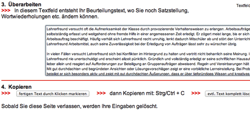 Screenshot: Fertiges Verbalgutachten