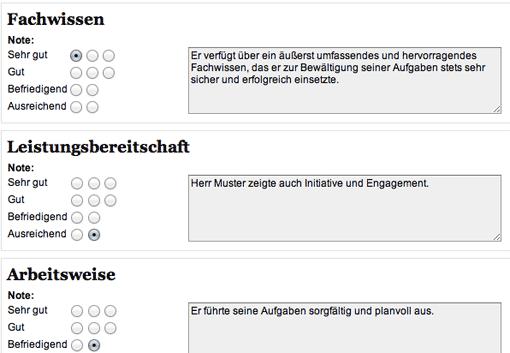 Screenshot: arbeitszeugnisgenerator.de