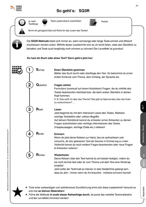 Arbeitsblatt: SQ3R-Methode (Vorschaubild)