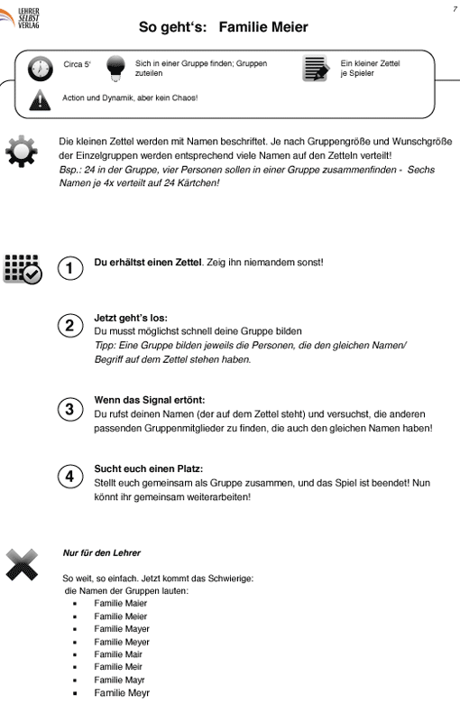 Methode Familie Meier (Gruppenbildung) - Vorschaubild