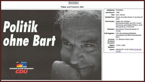 Wahlplakat der CDU 'Politik ohne Bart'