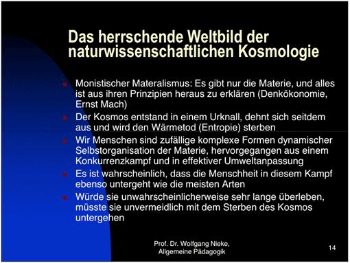 Ausschnitt aus einer Powerpoint-Präsentation von Prof. Wolfgang Nieke