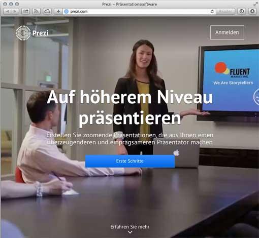 Screenshot: Prezi-Startseite