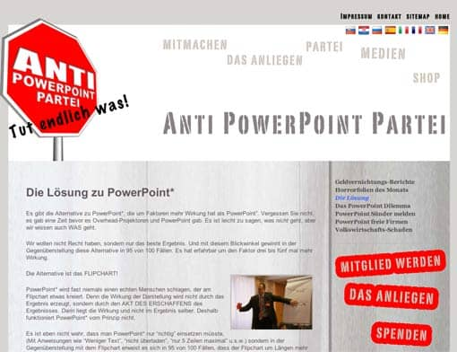 Screenshot: Homepage der Anti-PowerPoint-Partei (Vorschaubild)